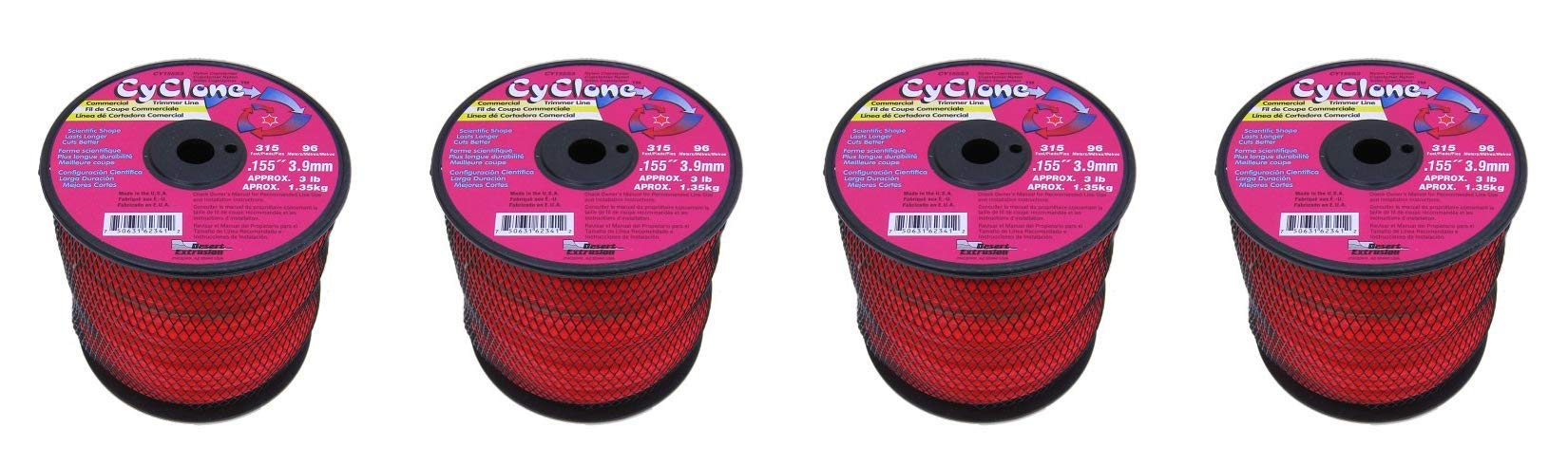 Cyclone .155-Inch-by-315-Foot Commercial Trimmer Line, Red CY155S3 (1, 4-Pack)