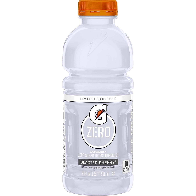 Gatorade Zero Glacier Cherry, 20 Fl Oz Bottles (Pack of 10, Total of 200 Oz)