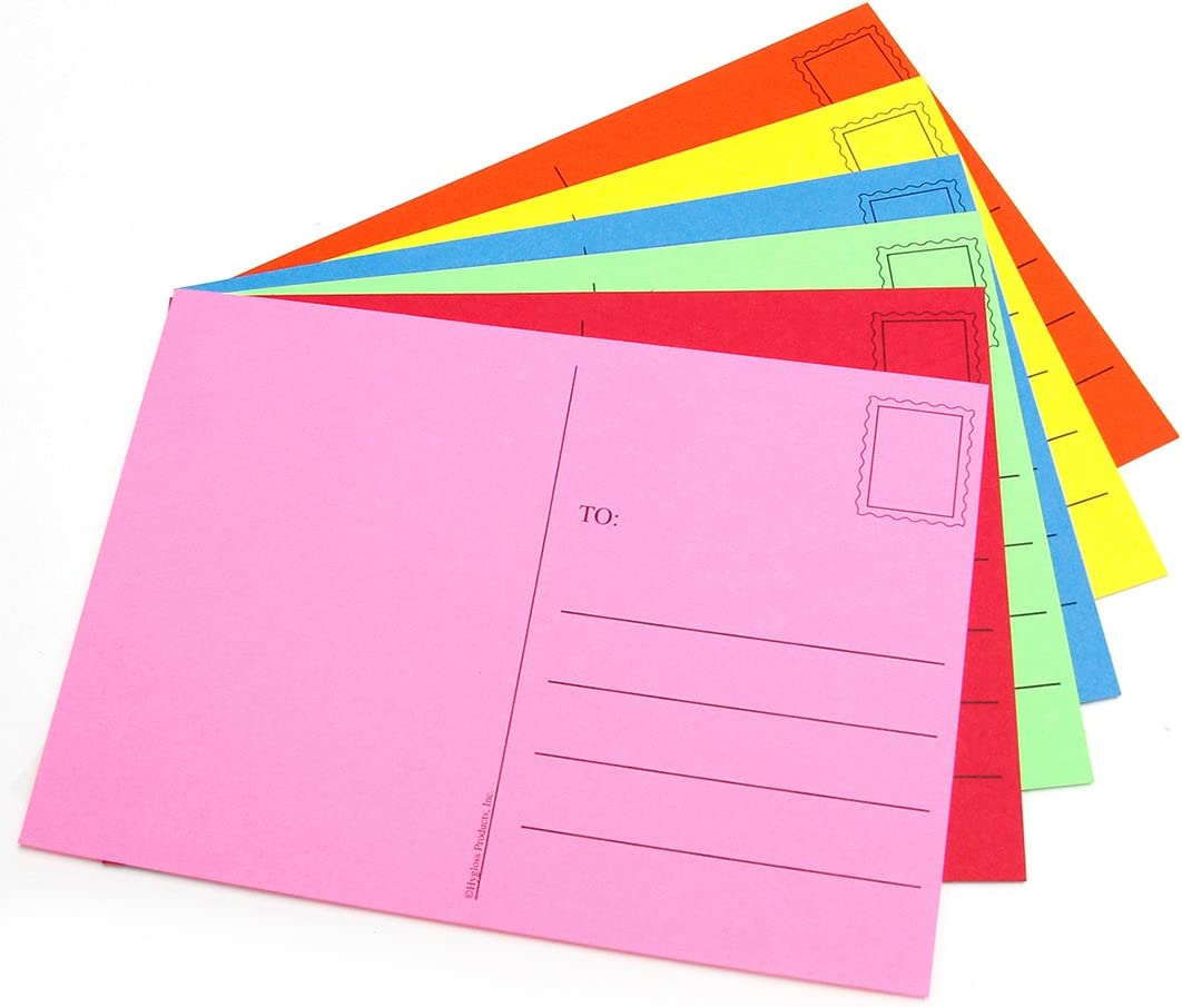 Hygloss Products Kid's Blank Make and Mail Postcards - 4 x 5-1/2 Inches, Assorted Bright Colors - 100 Pack