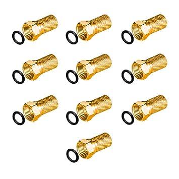 10 Conectores F de 7 mm dorados con junta de goma ancho Tuerca para cable coaxial