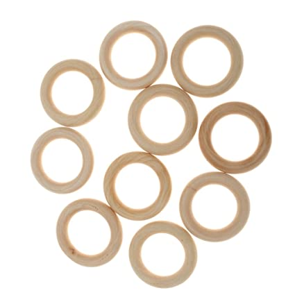 PACK OF 50 NATURAL UNFINISHED WOODEN LOOP RINGS WOOD MATERIAL JEWELEY DIY