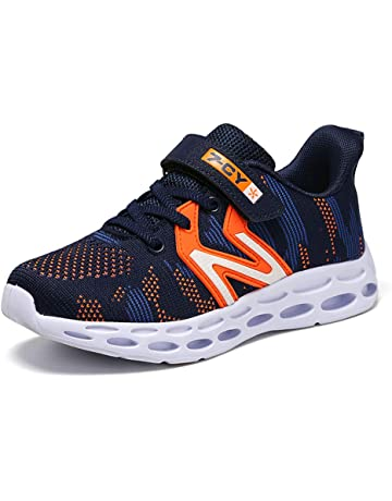 HSNA Zapatillas para Niño Antideslizante y absorción de Golpes Zapatos Correr Transpirables Ligero(28-