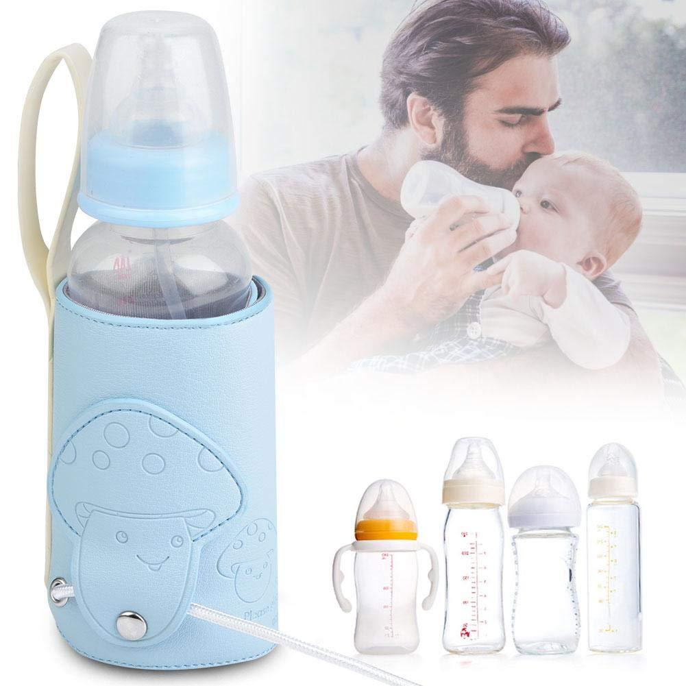 Blue Baby Bottle Bag,USB Baby Bottle Travel Warmer Portable Milk Travel Storage