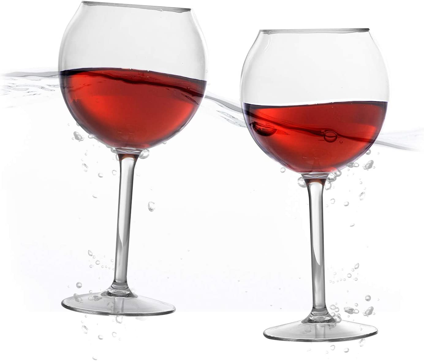 Floating Wine Glasses for Pool (18 Oz | Set of 2) - Pool Wine Glasses That Float | Shatterproof Poolside Wine Glasses | Floating Cup | Beach Glass | Outdoor Tritan Plastic Wine Glasses with Stem