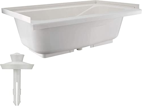 Bathtub Durable Replacement 40 x 24 Camper Trailer RV Tub Alpha Tub Parchment or White White – With Drain Stopper