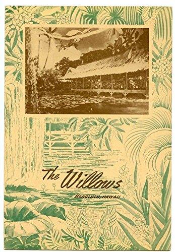The Willows Restaurant Original Menu Honolulu Hawaii 1954