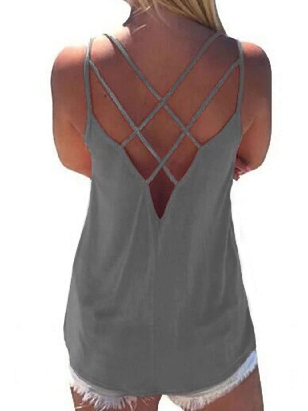 Womens Cute Criss Cross Back Tank Tops Loose Hollow Out Camisole Shirt