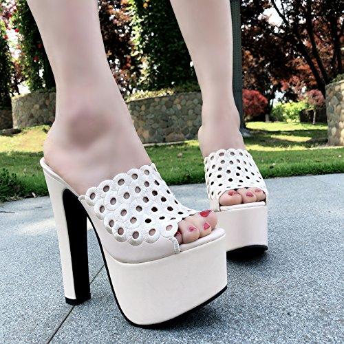 ba8b4910 Chic XiaoGao Summer New Cool zapatillas 15 cm de tacon alto y de fondo  grueso zapatos