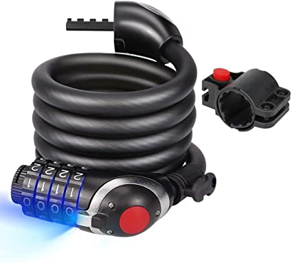 Heavy Duty 4 Chiffres Combinaison Vélo Câble Antivol De Sécurité Lumière DEL Cadenas