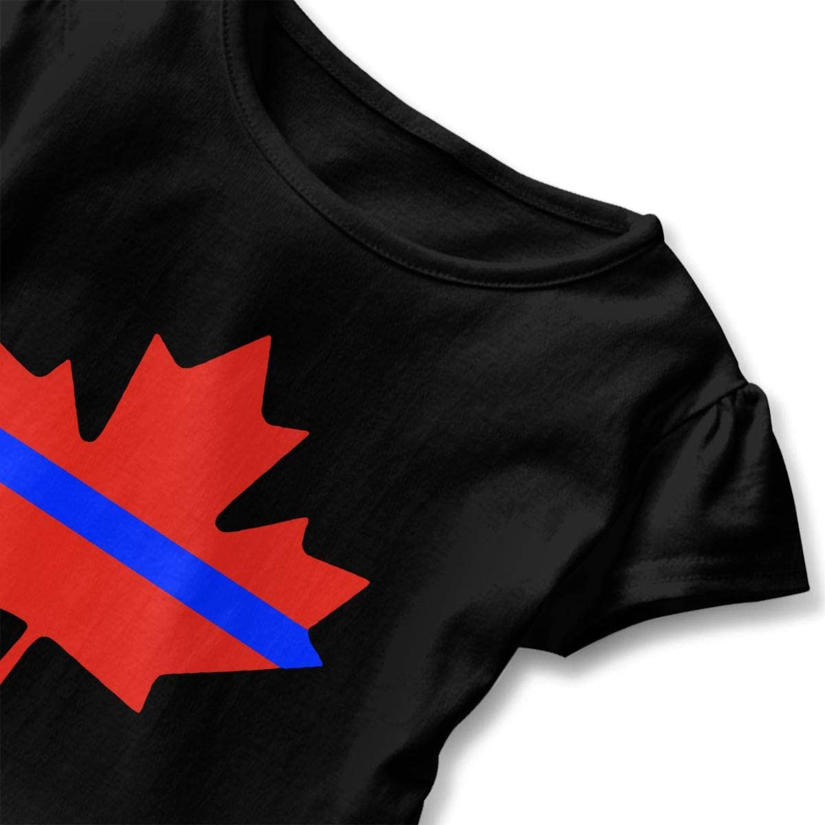 2-6T Zi7J9q-0 Short-Sleeve Thin Blue Line Canada Maple Shirts for Girls Casual Sweatshirt with Falbala