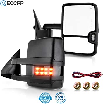 Fit For 1999-2002 Silverado//GMC Sierra 1500 2500 3500 LED Arrow Perfit Zone Pair Towing Mirror Power Heated Mirrors Replacement W//Turn Signal Clearance Light