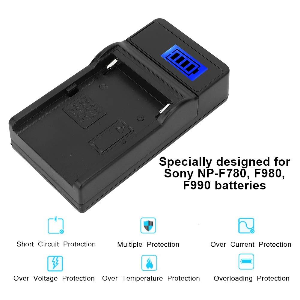 Adatto per batterie Sony NP-F780 F990.Protezione da cortocircuito//sovracorrente//sovratensione//sovratemperatura F980 Hakeeta Caricabatteria per Fotocamera con Singolo Slot e Schermo LCD