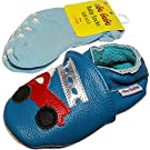 aGu GuGu Fire Fighter Soft Sole Real Leather Baby Boy Shoes and Matching Socks (6-12 Months, Blue)