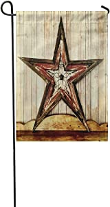 Vooft Double Sided Garden Flag Wooden Rustic Country Western Star Barn Cabin 28