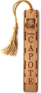 product image for Author, Truman Capote Photo with Signature - Engraved Wooden Bookmark with Tassel