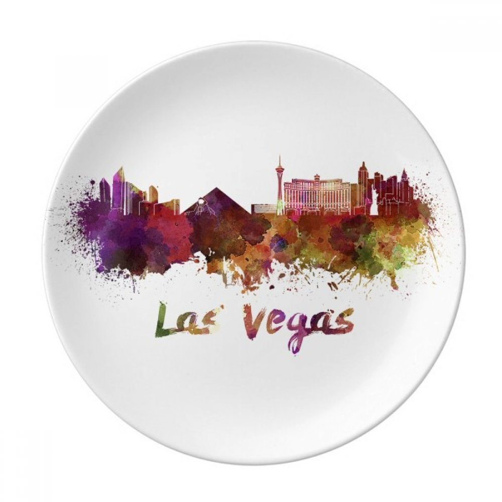 Las Vegas America City Watercolor Dessert Plate Decorative Porcelain 8 inch Dinner Home