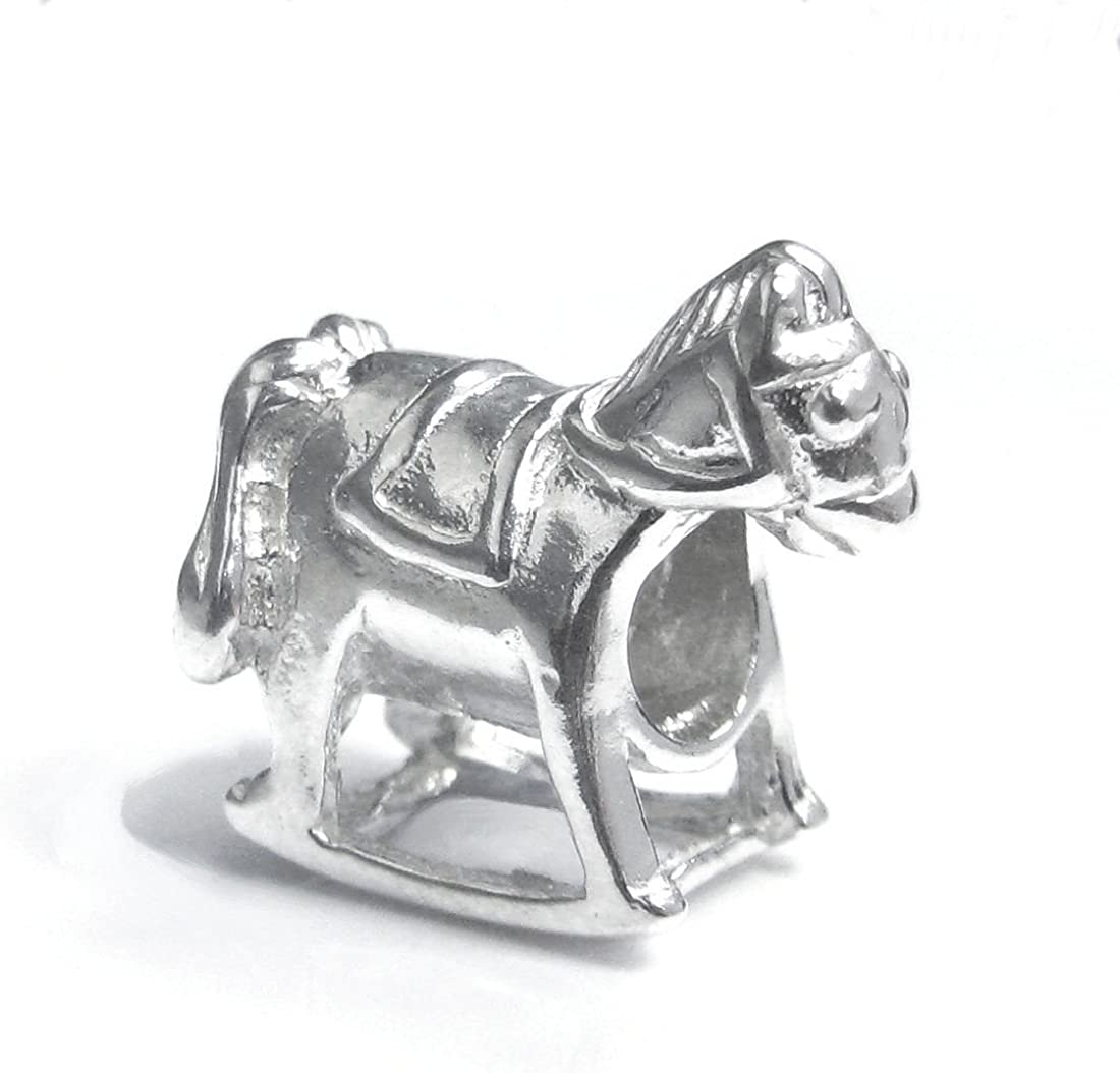 Abalorio de plata de ley 925 con diseño de caballo y silla de juguete para pulseras europeas