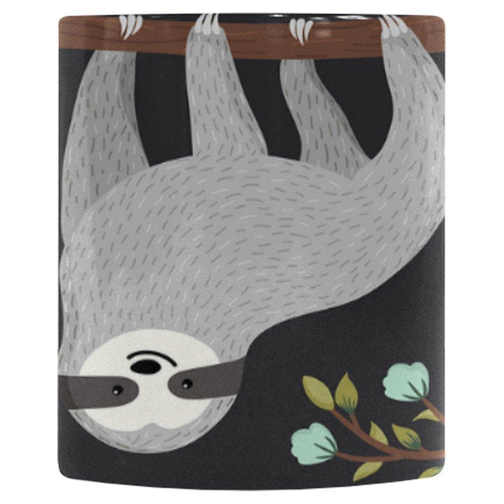 InterestPrint Funny Cartoon Animal Sloth on Tree Heat Sensitive Color Changing Coffee Mug, Cute Baby Sloth Flower Branch Morphing Travel Mug Tea Cup Funny, 11 Ounce Mug by InterestPrint