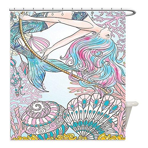 Liguo88 Custom Waterproof Bathroom Shower Curtain Polyester Mermaid Decor Cartoon Mermaid in Sea Sirens of Greek Myth Female Human with Tail of Fish Image Pink Blue Decorative bathroom