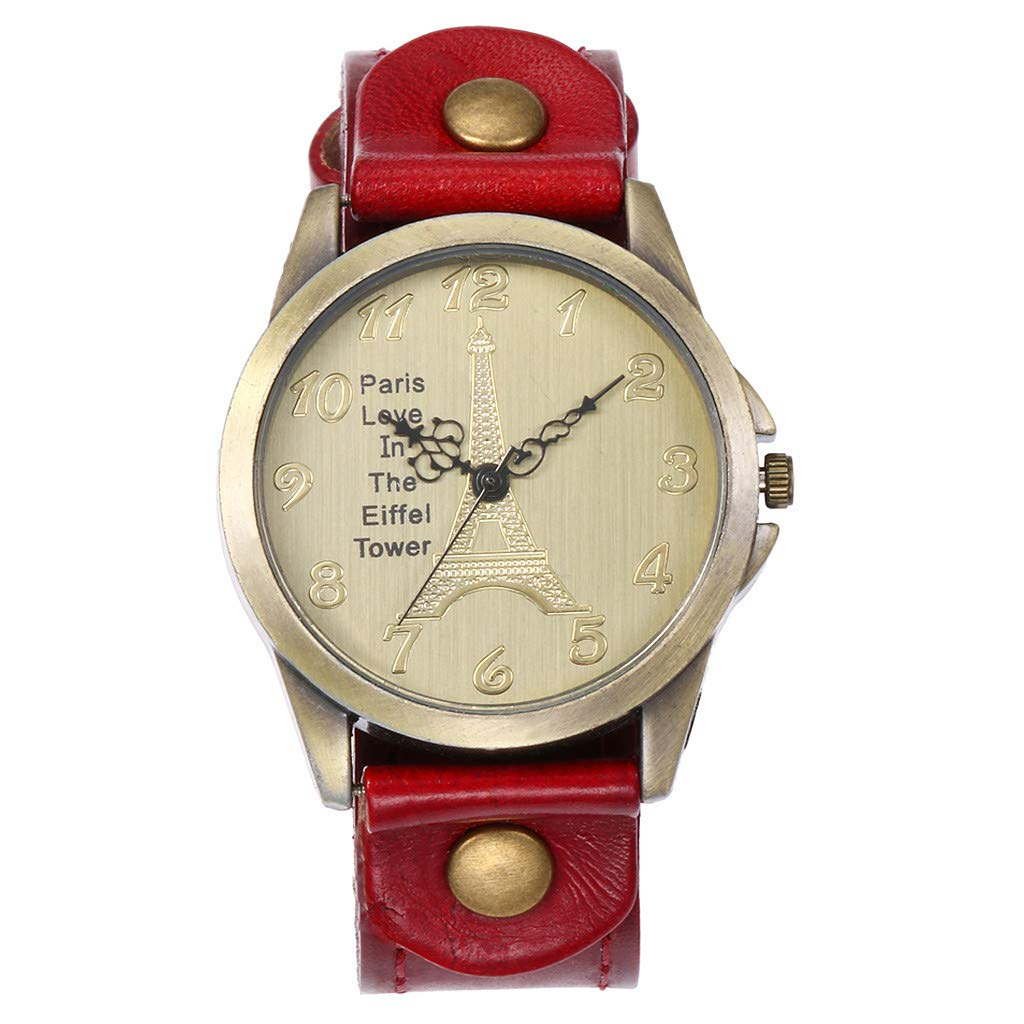 Women Watches for Sale,Fashion Watch Ladies Leather Belt Simple Watch Clearance(Red) by Woaills Watch