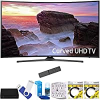 Samsung UN55MU6500FXZA Curved 55 4K Ultra HD Smart LED TV (2017 Model) Plus Terk Cut-the-Cord HD Digital TV Tuner and Recorder 16GB Hook-Up Bundle