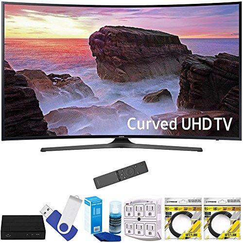 Samsung UN55MU6500FXZA Curved 55'' 4K Ultra HD Smart LED TV (2017 Model) Plus Terk Cut-the-Cord HD Digital TV Tuner and Recorder 16GB Hook-Up Bundle by Samsung