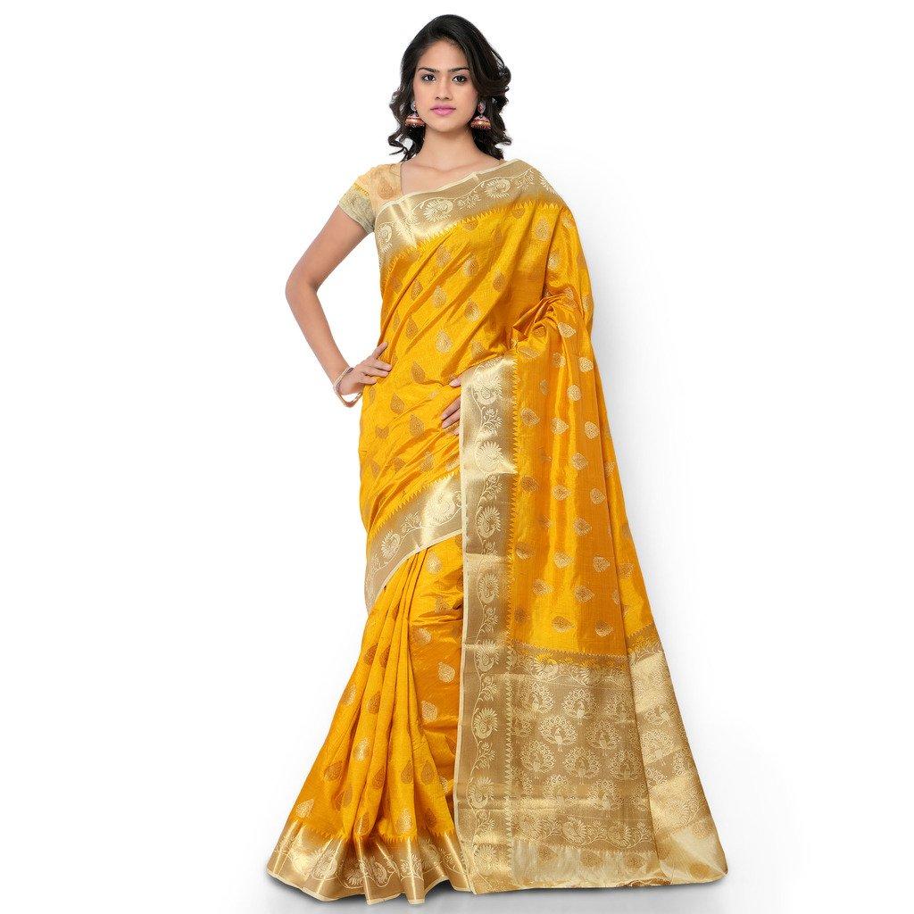 Varkala Silk Sarees Women's Tussar Silk Paithani Saree With Blouse Piece_(ND1010MDCM_Yellow & Cream)