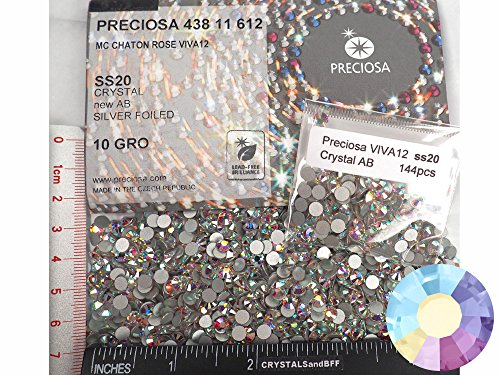 Swarovski Chaton Rose (144pcs ss20 (5mm) Crystal AB, Preciosa Genuine Czech Crystals new VIVA12 MC Chaton Rose Flatbacks, 12-Faceted Viva Machine Cut Rhinestone Roses, 20ss clear crystal coated with Aurora Borealis)