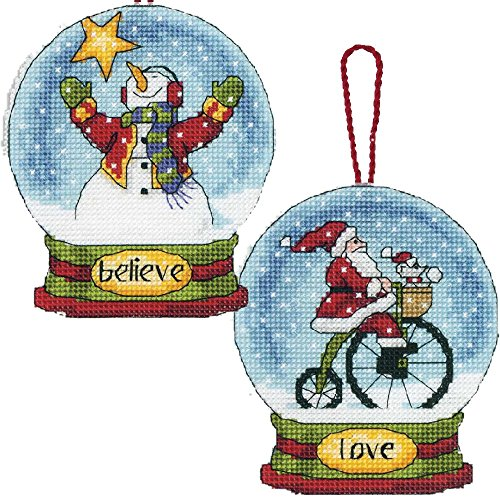 2 Item Snowglobe Cross Stitch Kits Bundle: Believe Snowman &