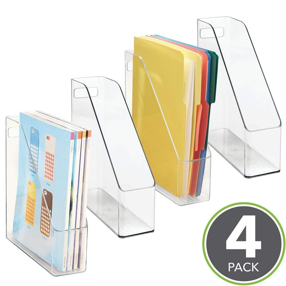 mDesign Freestanding Magazine Rack Transparent / Clear Set of 2 Magazine Holder or for Storing Notes Office Storage Solutions for use as a Newspaper Holder