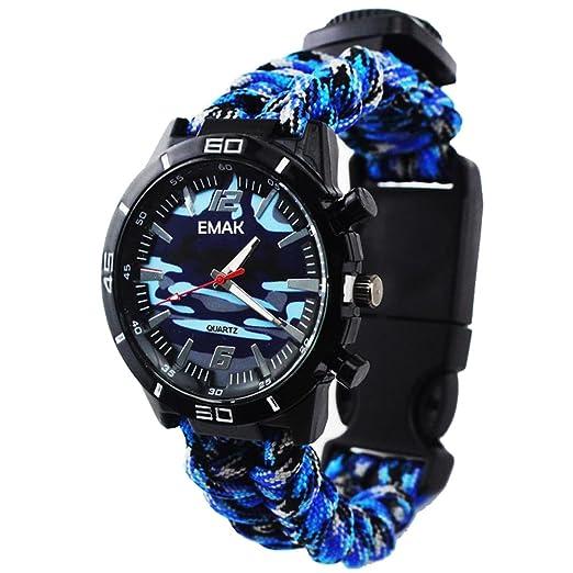 Reloj de Supervivencia Al Aire Libre Militar Compás Termómetro Multifunción Cuerda Paracord Camuflaje Relojes Hombre, Azul: Amazon.es: Relojes