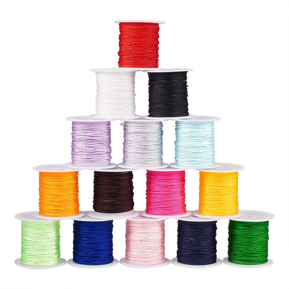 PH PandaHall 15 Colors 0.8mm Nylon Beading String Knotting Cord, Chinese Knotting Cord Nylon Shamballa Macrame Thread Beading Cord, 150 Yards Totally by PH PandaHall