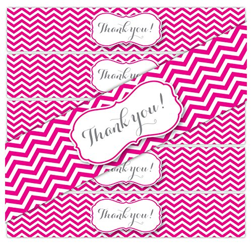 24 Thank You Stickers | WATERPROOF Water Bottle Labels for a Wedding, Baby Shower, Party or Favor Bags | (Magenta/Hot Pink)