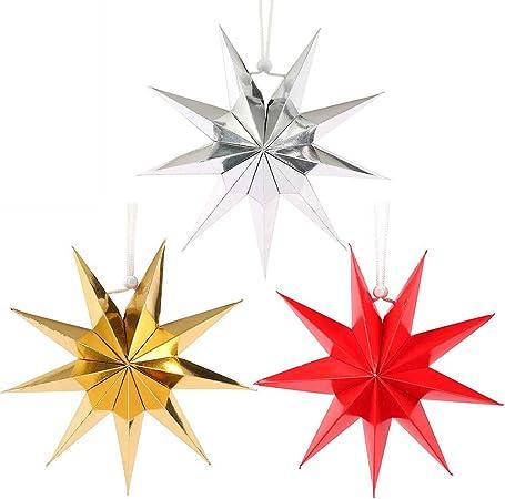 Origami Stella Di Natale.Quanju Cheer Paralume A Forma Di Stella Di Origami A Forma Di Stella Di Carta Per Feste Di Natale Argento Amazon It Casa E Cucina