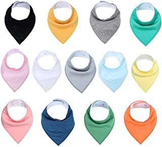 Jannyshop 13 Pack Baby Bandana Drool Bibs with 2 Snap Organic Adjustable Soft Absorbent Newborn Shower Gift for Drooling Teething