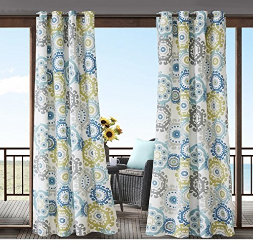 Lime Medallion (1 Piece 84 Inch Blue Lime Green Medallion Pattern Gazebo Curtain Single Panel, Grey Geometric Circles Printed White Color Outside, Indoor Pergola Drapes Porch Deck Cabana Patio Screen Entrance Sunroom)