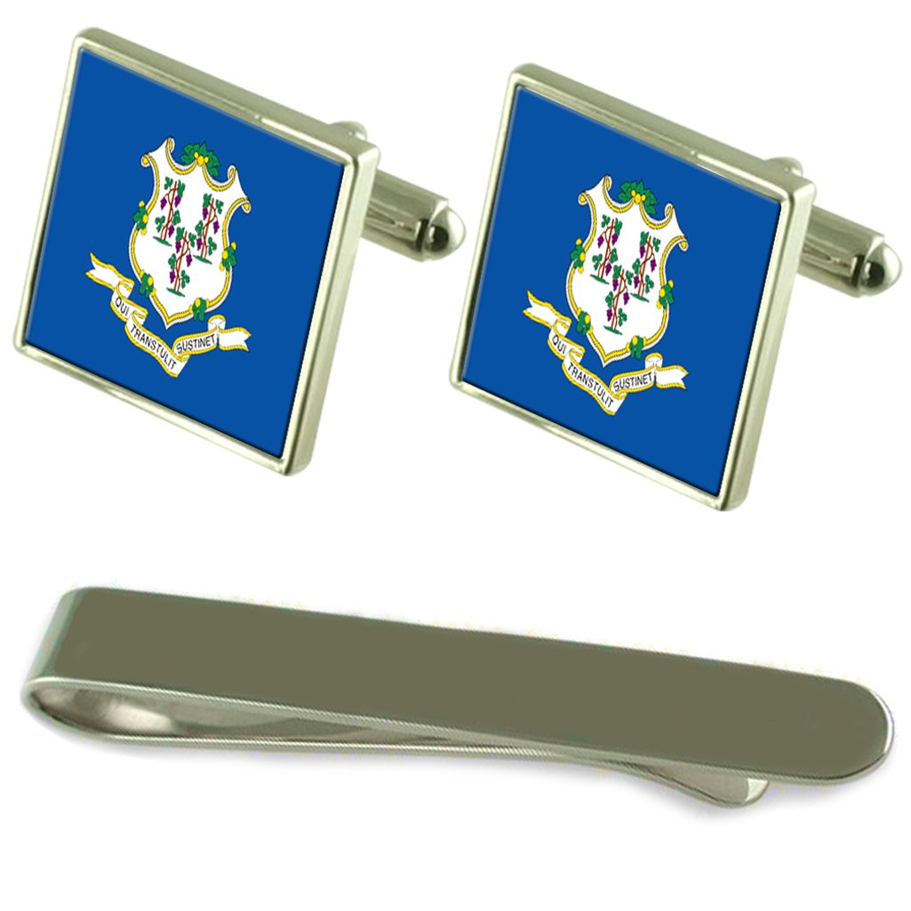 Connecticut Flag Silver Cufflinks Tie Clip Box Gift Set