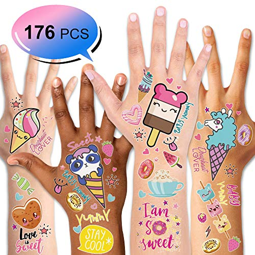 Konsait 176PCS Kids Temporary Tattoo, Fake Waterproof Tattoo Stickers For Children Girls Candy Lollipop Ice Cream Sweet Tattoos for Birthday Summer Beach Children's Day Gift Party Favors Supplies