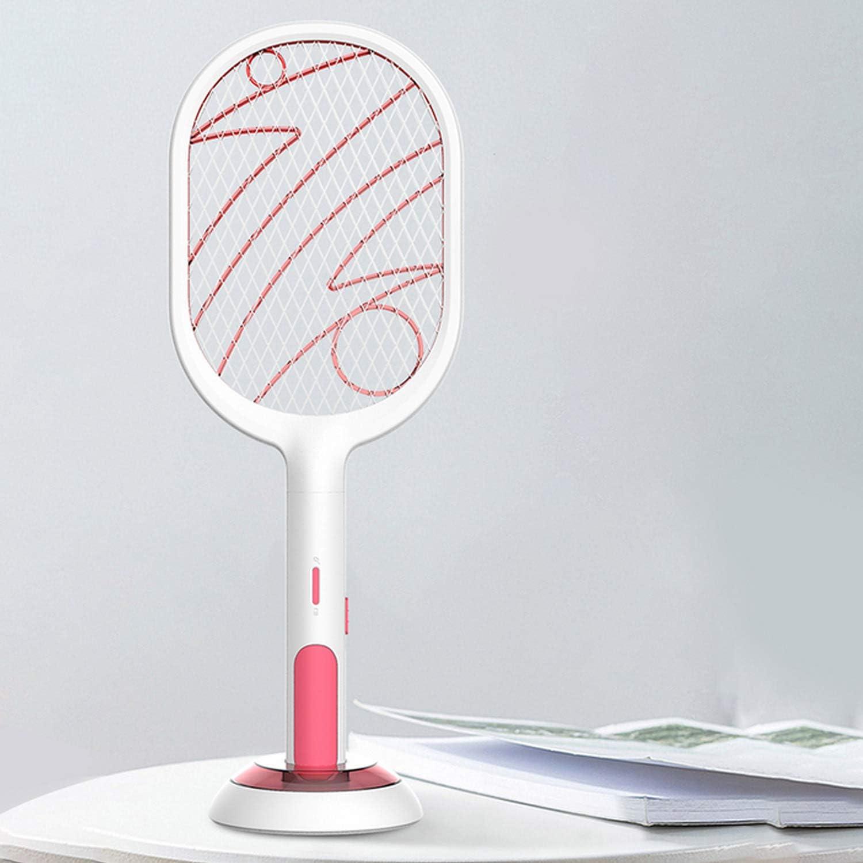 2 en 1 USB recargable el/éctrico Mosquito Fly Bug Swatter Racket Anti-Mosquito Killer L/ámpara para el hogar Dormitorio Sala de estar A