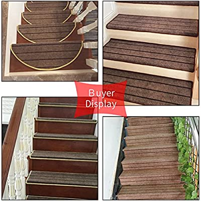 TINTON LIFE 13pcs Stair Treads with 1pcs Door Mat as Free Gift, Indoor Non-Slip Stair Protectors Step Mats Carpet