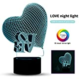 3D Night Light Optical LED Lamp Romantic Decorative Lights as Gifts 7 Colors Changing with Smart Touch Button & USB Charging 2018 Fashion Decorative Light Soft Light Safe for Kids in Bedroom