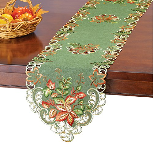 Collections Etc Embroidered Fall Leaves Table Runner/Topper with Lace Cutouts, Autumn Home Décor, -