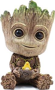 RedDreamer Groot Flower Pot, Baby Groot Planter Pot Succulent Planter Bird-Nest Model Flowerpot Treeman Cute Green Plants Pot Groot Pen Holder with Hole, Best Gift for Kids, Parents, Friends