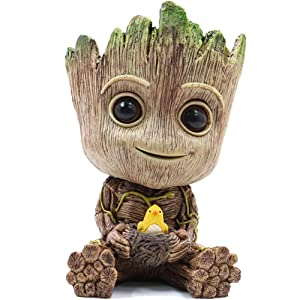 RedDreamer Groot Planter Pot, Baby Groot Bird-Nest Model Succulent Planter Pot Cute Green Plants Pot Groot Flower Pot, Groot Pen Holder with Hole, Best Gift for Kids, Parents, Friends