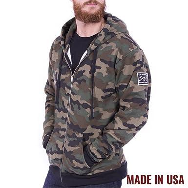 Grunt Style Fleece Mens Full Zip Hoodie, Color Camo, ...