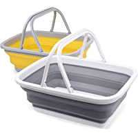 2 Pack Collapsible Sinks -Camping Picnic Baskets 10L/2.64 Gal - Foldable Ice Buckets with Sturdy Handle for Washing…