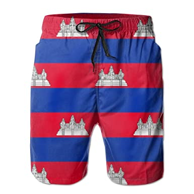 deffe8fbee92d Amazon.com: Game Life Shorts Cambodia Flag Mens Tree Quick Dry Swim Trunks  Beach Shorts With Mesh Lining: Clothing