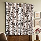 Custom design curtains/Vintage Lace Window Curtain/Grommet Top Blackout Curtains/Thermal Insulated Curtain For Bedroom And Kitchen-Set of 2 Panels(hite Sketch Style Gaming Design Racing Monitor Dev)