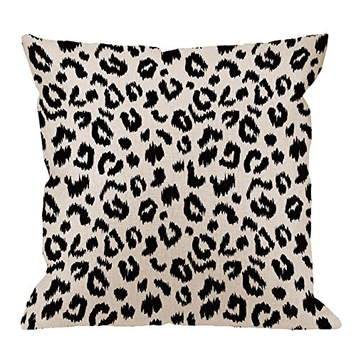 HGOD DESIGNS Leopard Pillow Cover,Decorative Throw Pillow Leopard Print Pillow cases Cotton Linen Outdoor Indoor Square Cushion Covers For Home Sofa couch 18x18 inch Black White (Chair Leopard)