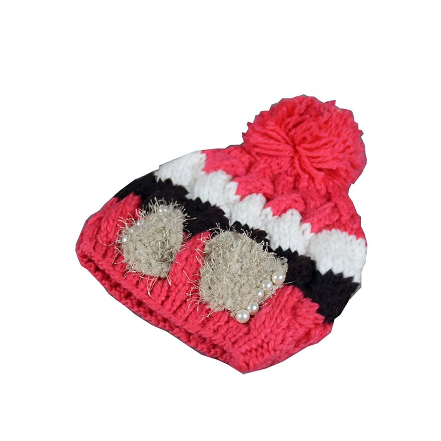 Ilucky New Women Fashion Bowknot Pearl Hat Winter Knitted Hat No.18